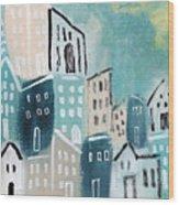 Beach Town- Art By Linda Woods Wood Print