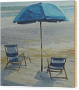 Beach Umbrella - Hilton Head Wood Print