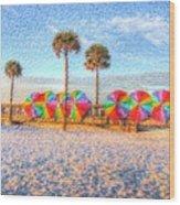 Beach Umbrella Lineup Wood Print by Michael Garyet