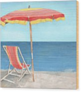 Beach Umbrella Of Stripes Wood Print