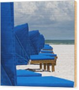 Beach Umbrellas 3 By Darrell Hutto Wood Print