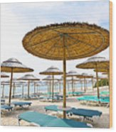 Beach Umbrellas And Chairs On Sandy Seashore Wood Print