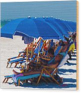 Beach Umbrellas By Darrell Hutto Wood Print