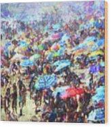 Beach Umbrellas Wood Print