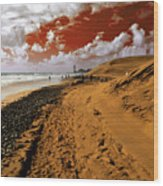 Beach Under A Blood Red Sky Wood Print