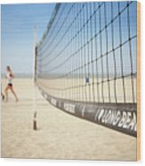 Beach Volleyball Net On The Sand At Long Beach, Ca Wood Print