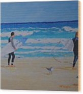 Beach Walkers  Wood Print