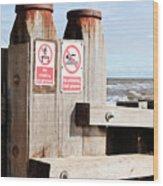 Beach Warning Wood Print