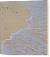 Beach Water Curves Wood Print