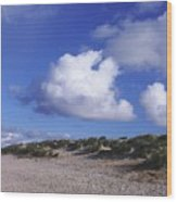Beach With Clouds Wood Print