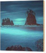 Beach With Sea Stacks In Moody Lighting Wood Print
