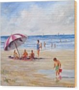 Beach With Umbrella Wood Print