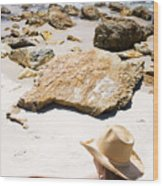 Beach Woman Wood Print by Jorgo Photography - Wall Art Gallery
