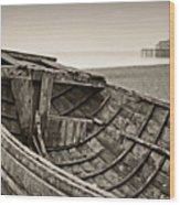 Beached At Brighton In Sepia Wood Print