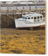 Beached Boat During Low Tide In Nova Scotia Canada Wood Print