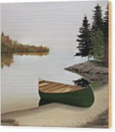 Beached Canoe In Muskoka Wood Print