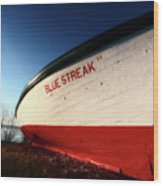 beached fishing boat at Hecla on Lake Winnipeg Wood Print