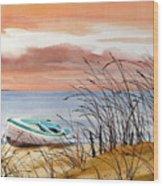 Beached In Breeze Wood Print