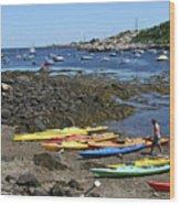 Beached Kayaks At Rockport Harbor Wood Print