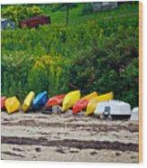 Beached Kayaks Wood Print