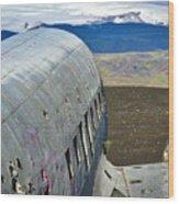 Beached Plane Wreckage - Iceland Wood Print
