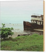 Beached Ship Wood Print