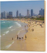 Beachfront In Tel Aviv  Wood Print