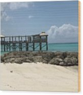Beachfront Pier Wood Print