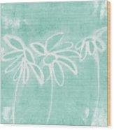 Beachglass And White Flowers 3- Art By Linda Woods Wood Print