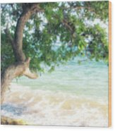 Beachscape Tree Wood Print