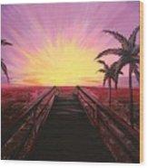 Beachside Sunset Wood Print