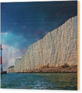 Beachy Head Lighthouse And Cliffs Wood Print