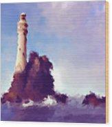 Beacon On The Rock Wood Print