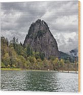 Beacon Rock At Columbia River Gorge Wood Print