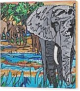 Beaded Elephant Wood Print