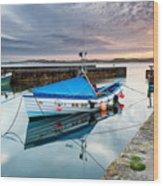 Beadnell Harbour Sunset Wood Print