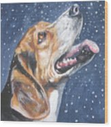 Beagle In Snow Wood Print