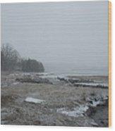 Beals Cove During A Snow Storm Wood Print