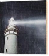 Beaming Lighthouse Wood Print