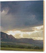 Beams Of Sunlight On Boulder Colorado Foothills Wood Print