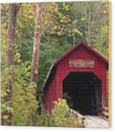Bean Blossom Bridge II Wood Print