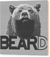 Bear And Beard Wood Print