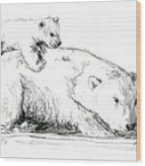 Bear And Cub Wood Print