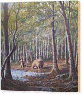 Bear And Her Cubs Wood Print
