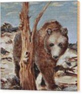 Bear And Stump Wood Print