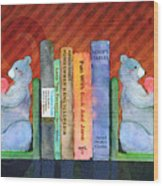 Bear Bookends Wood Print