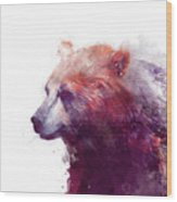 Bear // Calm - Right // White Background Wood Print