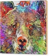 Bear Colored Grunge Wood Print