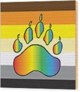 Bear Colors With Rainbow Paw Wood Print