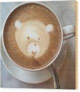 Bear Cup Latte  Wood Print